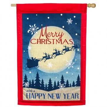 Merry Christmas Burlap House Flag