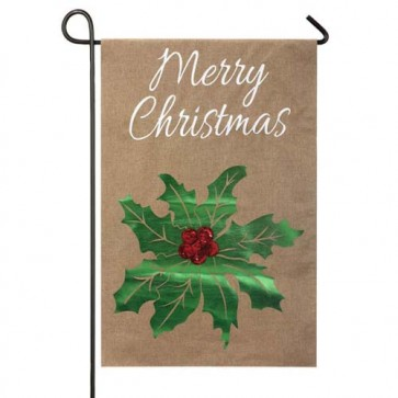 Merry Christmas Holly Garden Flag (Burlap)