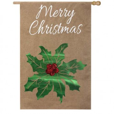 Merry Christmas Holly House Flag (Burlap)