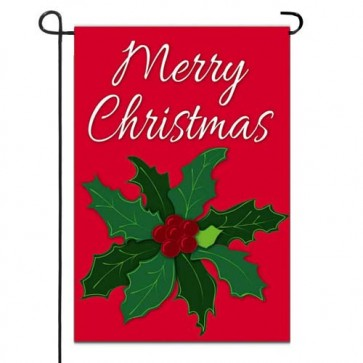 Merry Christmas Holly Garden Flag