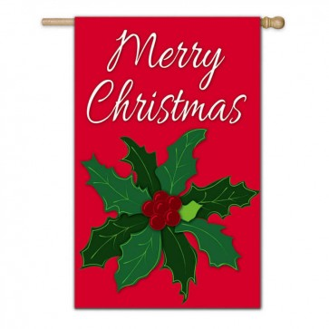 Merry Christmas Holly House Flag