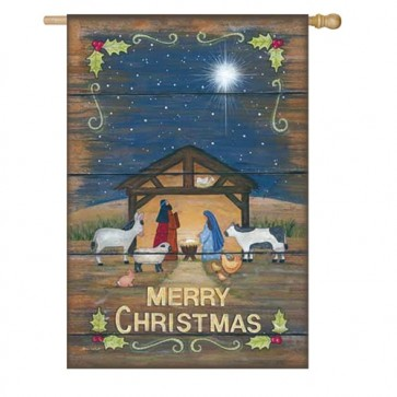 Merry Christmas Nativity House Flag