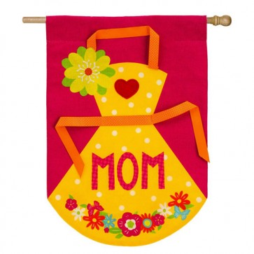Mom's Apron Burlap Mother's Day House Flag