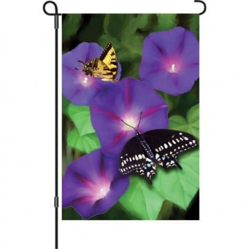 Morning Glory Swallowtails Garden Flag