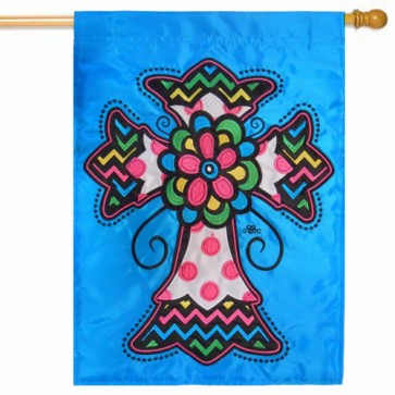 Multi Colored Cross House Flag