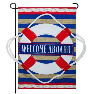 Nautical Welcome Burlap Garden flag