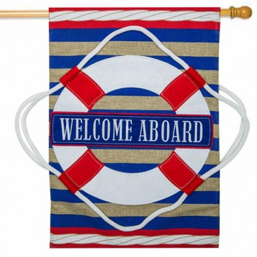 Nautical Welcome Burlap House flag