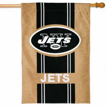 New York Jets Burlap House Flag