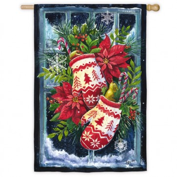 Norwegian Christmas Mittens House Flag