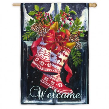 Norwegian Christmas Wellies House Flag