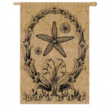 Ocean Burlap Flag (Two Different Sides) House Flag