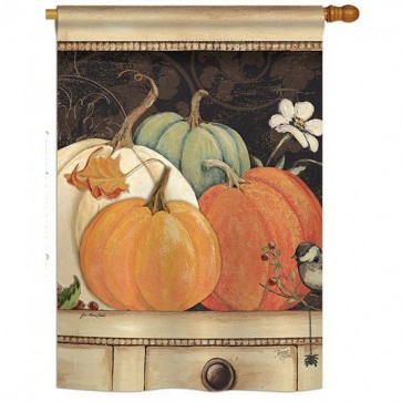 October Pumpkins House Flag