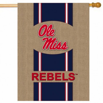 Ole Miss Rebels Burlap College House Flag