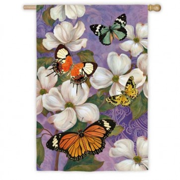 Oriental Dogwood And Butterfly House Flag