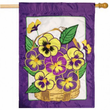 Pansies Spring House Flag