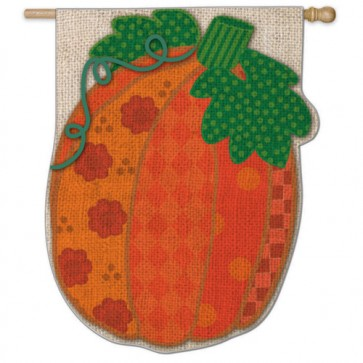 Burlap Patchwork Pumpkin House Flag