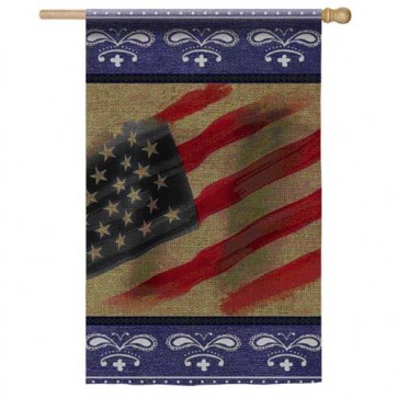 Burlap Patriotic Bandana House Flag
