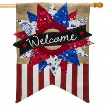 Patriotic Banner Welcome House Flag