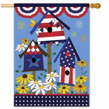 Patriotic Birdhouses House Flag