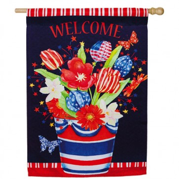 Patriotic Bouquet House Flag