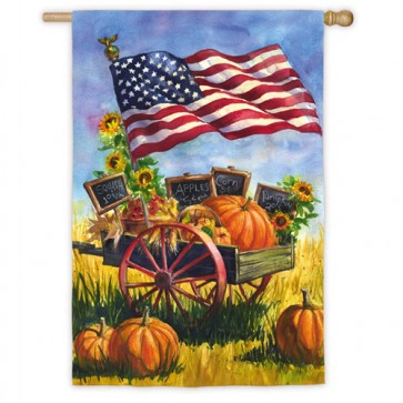 Patriotic Farm Wagon House Flag