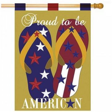 Patriotic Flip Flops House Flag