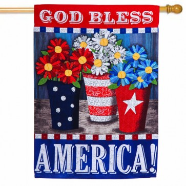Patriotic Flower Pots Patriotic House Flag
