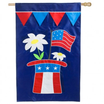 Patriotic Hat House Flag