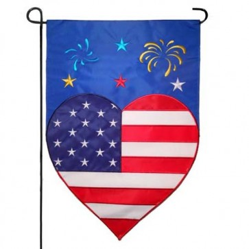 Patriotic Heart and Fireworks Garden Flag