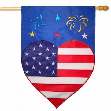 Patriotic Heart and Fireworks