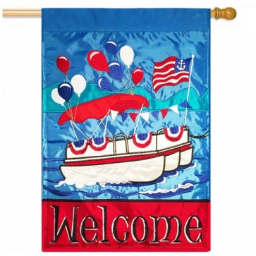 Patriotic Pontoon Party Boat House Flag