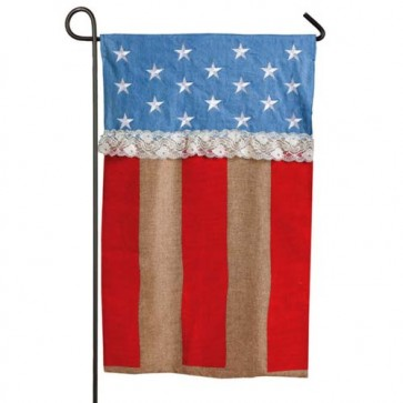 Patriotic Stars and Stripes Burlap Garden Flag