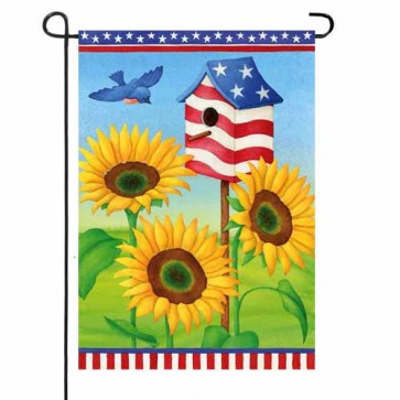 Patriotic Sunflowers Garden Flag