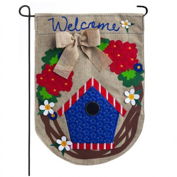 Patriotic Welcome Wreath Garden Flag
