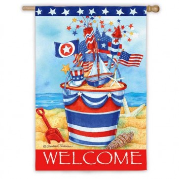 Patriotic Welcome House Flag
