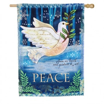 Peace Dove Winter House Flag