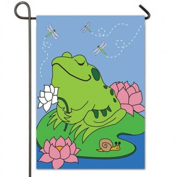 Peaceful Frog Garden Flag
