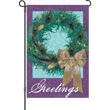 Peacock Wreath Garden Flag