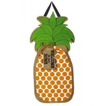 Pineapple Greeting Burlap Door Hanger