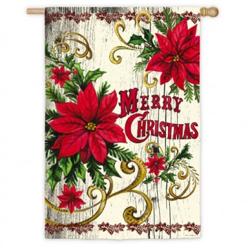 Poinsettia Merry Christmas House Flag