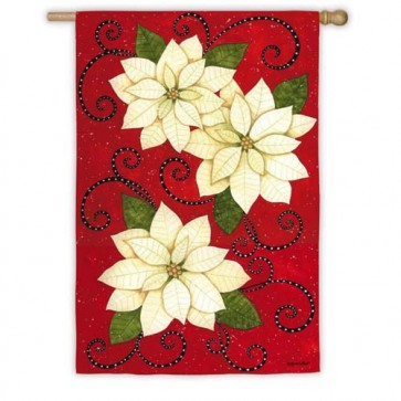 Poinsettia Polka Dots House Flag
