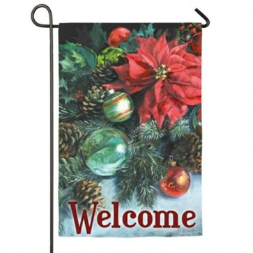 Poinsettia Reflections Garden Flag