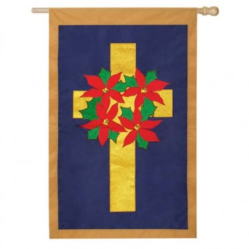 Poinsettia Wreath on Cross House Flag  (CLOSEOUT))