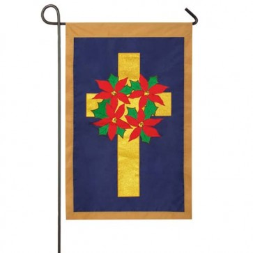Poinsettia Wreath on Cross Garden Flag