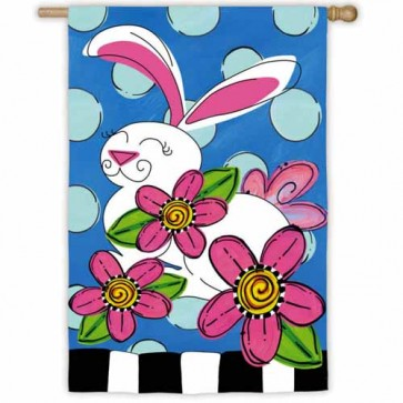 Polka Dot Bunny House Flag