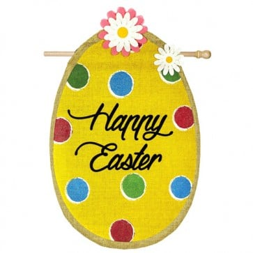 Polka Dot Easter Egg Burlap House Flag