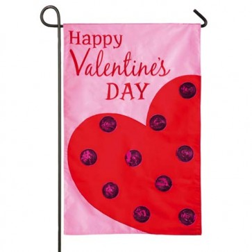 Polka Dot Heart Garden Flag