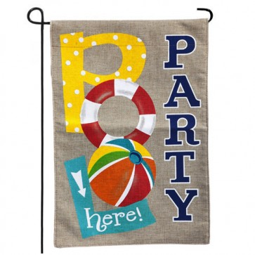Pool Party Burlap Garden Flag