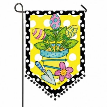 Potted Easter Eggs Garden Flag