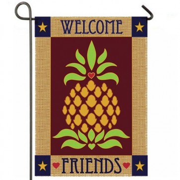 Primitive Pineapple Burlap Garden Flag Flag